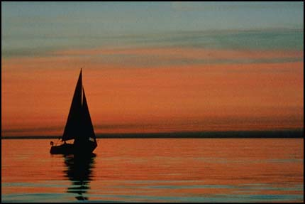 Sailboat on water-horizon lower 3rd