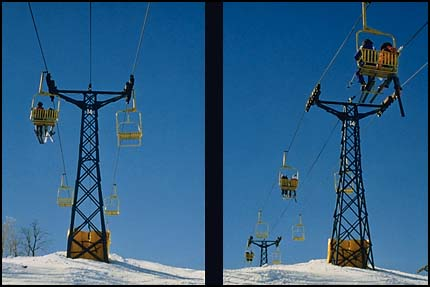 2 views of ski lift